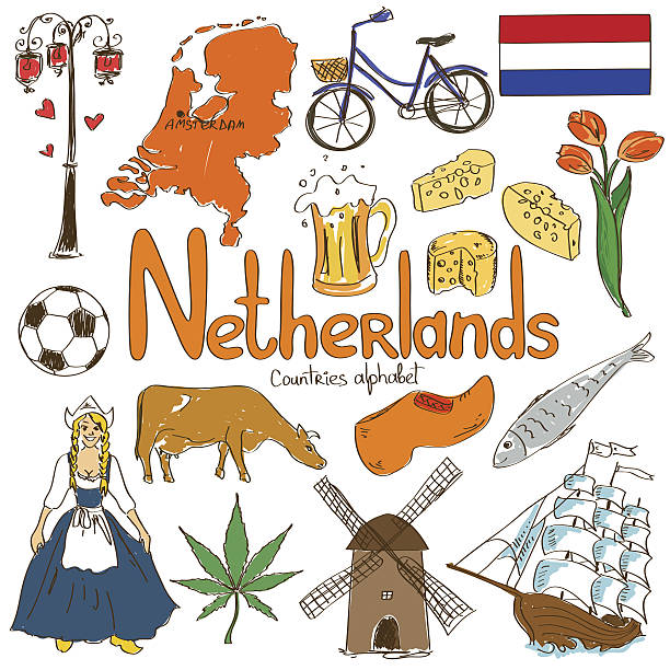 collection of netherlands icons - dutch traditional clothing stock illustrations, clip art, cartoons, & icons