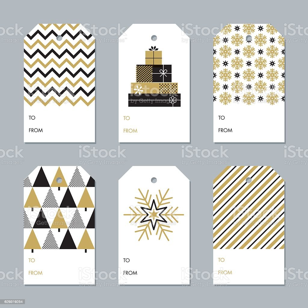 Collection of New Year and Christmas gift tags - Illustration vector art illustration