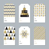Collection of New Year and Christmas gift tags - Illustration