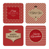 Collection of New Year and Christmas gift tags. - Illustration