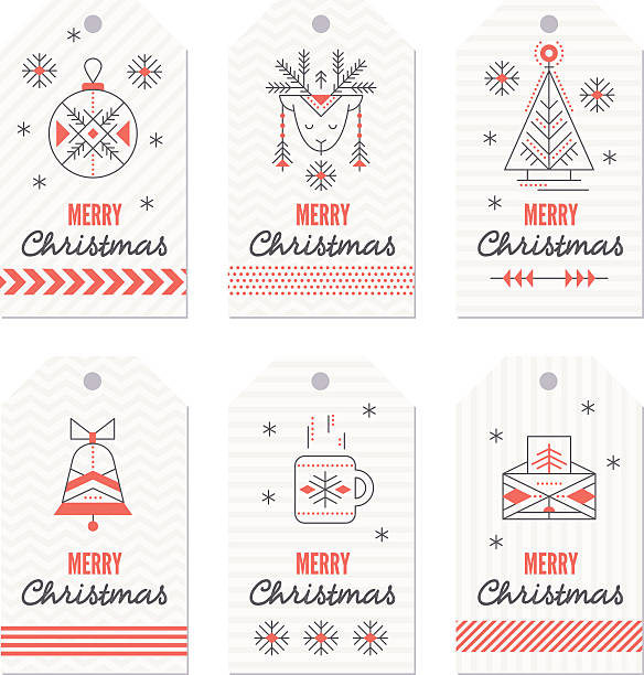 Collection of New Year and Christmas gift tags. – artystyczna grafika wektorowa