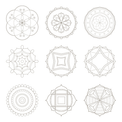 Mandala Dokuz Basit Tasarimlar Toplulugu Stok Vektor Sanati 9