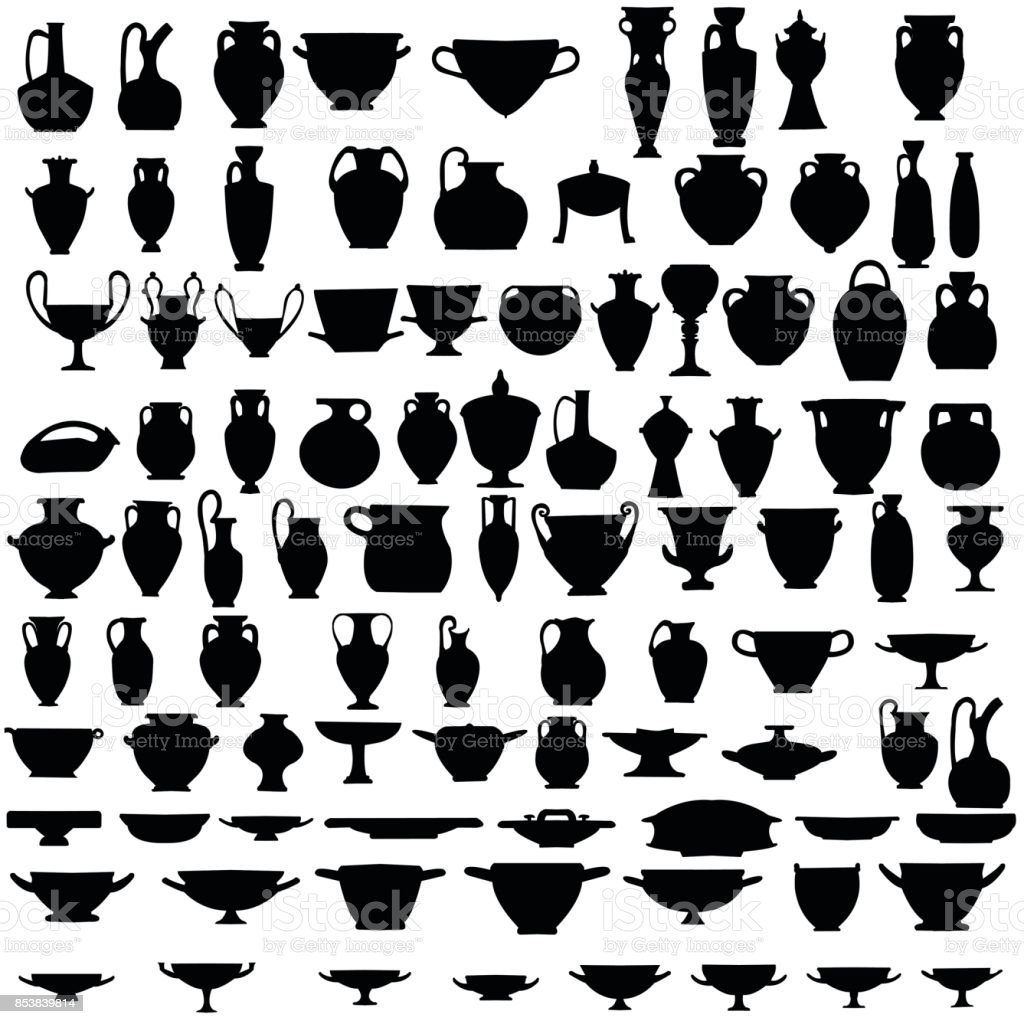 Collection of ninety four silhouettes of ancient  pottery