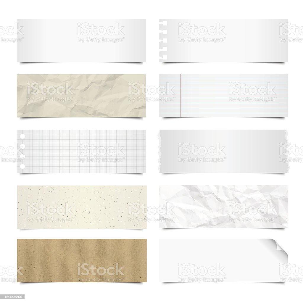 Collection of note papers background. vector art illustration