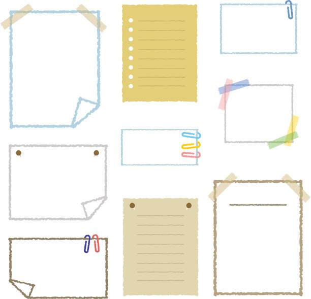 Collection of note papers Collection of note papers, isolated on white. masking tape stock illustrations