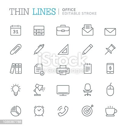 Collection of office related line icons. Editable stroke