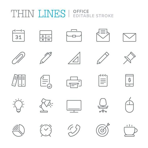 illustrazioni stock, clip art, cartoni animati e icone di tendenza di collection of office related line icons. editable stroke - borsa 24 ore