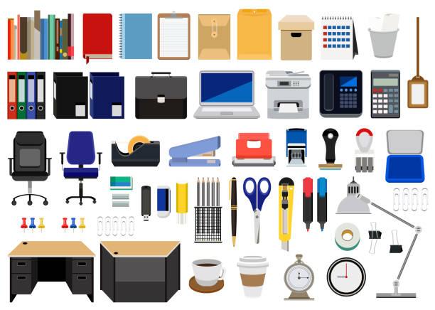 sammlung von büromaterial, möbel und maschinen isoliert auf weißem hintergrund - büromaterial stock-grafiken, -clipart, -cartoons und -symbole