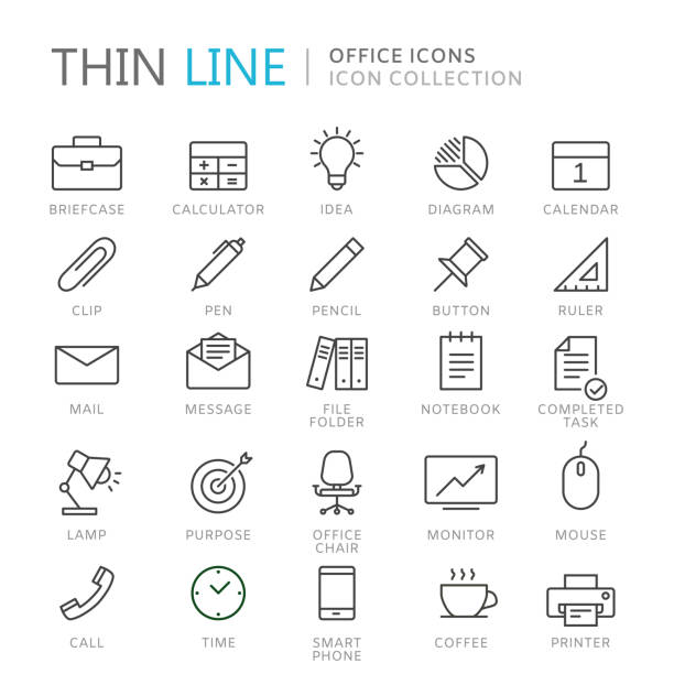 Collection of office thin line icons Collection of office thin line icons. Vector eps10 coffee break stock illustrations