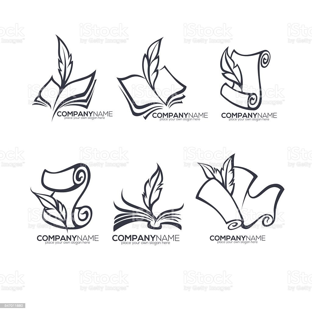 collection of old books, parchment, poetry, literature  emblems vector art illustration