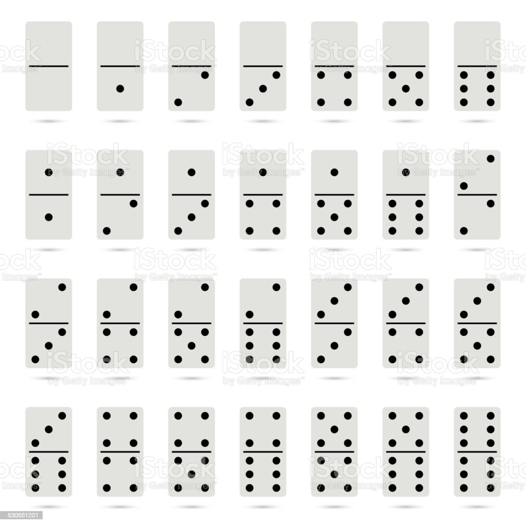 Collection of old fashioned domino set vector art illustration