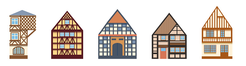 Collection of old German and French houses Illustration in a flat cartoon style