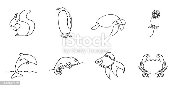 Collection of one line logos or icons. Includes squirrel pinguin turtle rose dolphin chameleon fish and crab minimalistic illustartions