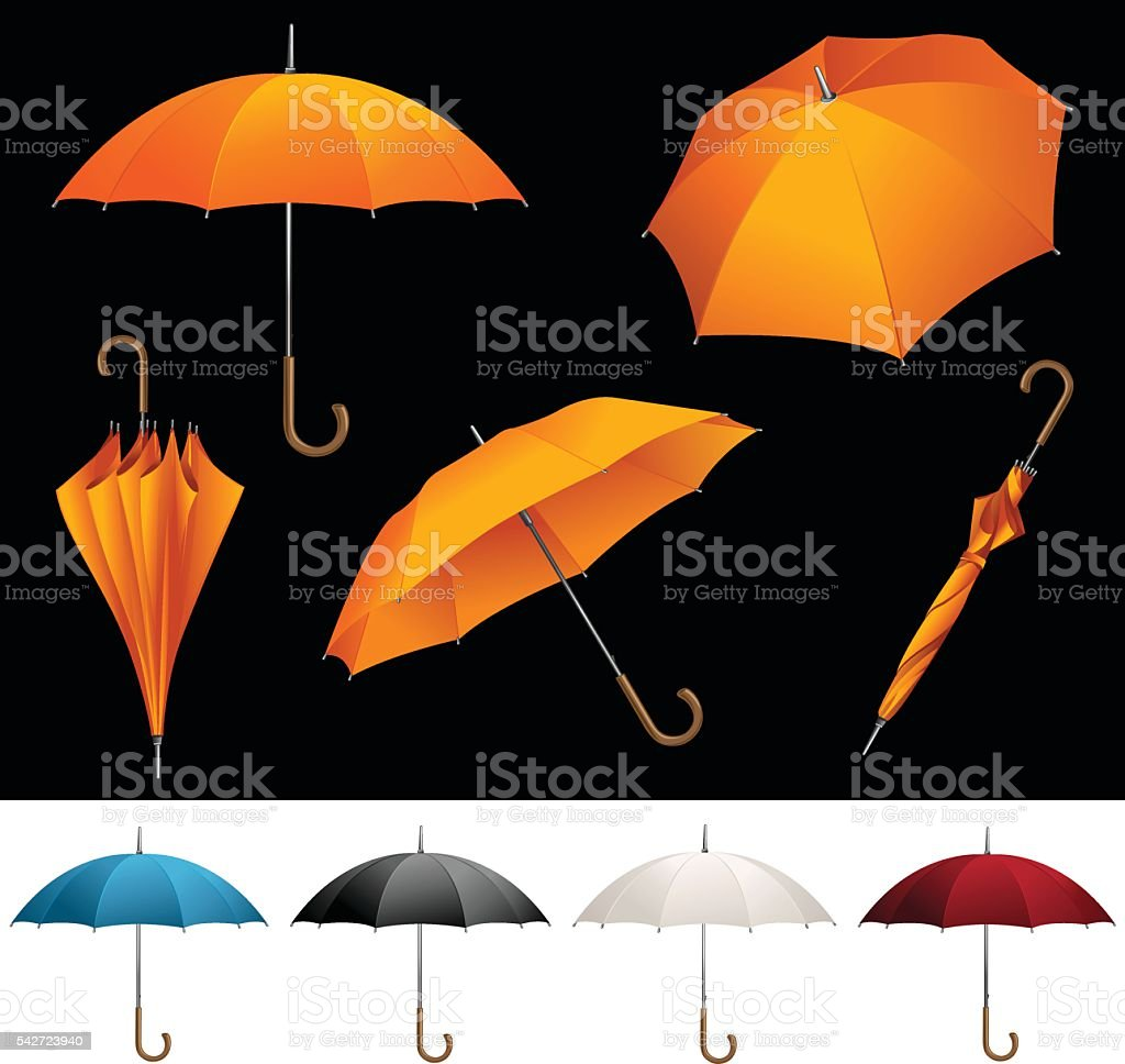 Collection of opened folded top view vector orange umbrellas vector art illustration