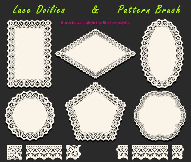 Collection of Openwork White Lace pattern brush and diversified lacy napkins, doilies and tracery elements. Collection of Openwork White Lace pattern brush and diversified lacy napkins, doilies and tracery elements. Vector illustration. decorative laser cut set stock illustrations