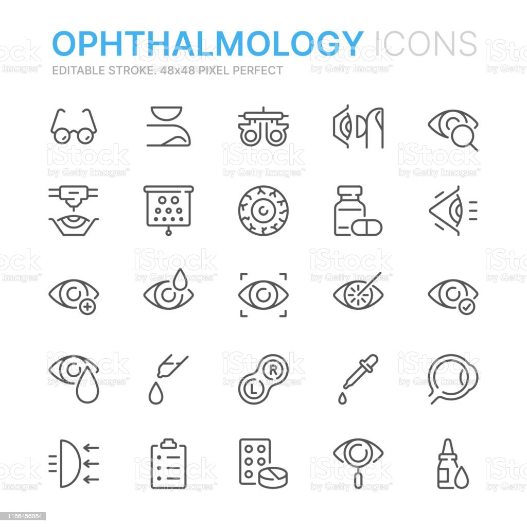 Collection of ophthalmology related line icons. 48x48 Pixel Perfect. Editable stroke - Векторная графика Аллергия роялти-фри