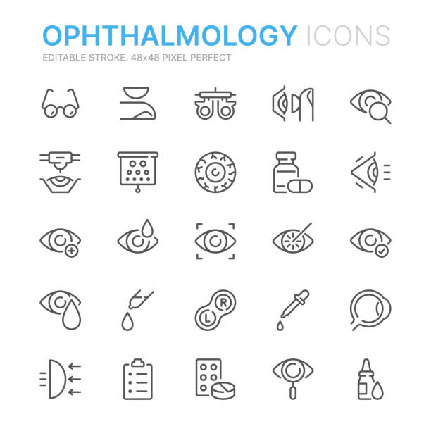 Collection of ophthalmology related line icons. 48x48 Pixel Perfect. Editable stroke Simple Set of Optometry Related Vector Line Icons. Contains such Icons as Eye Exam, Laser Surgery, Eyeball, Glasses and more.Editable Stroke. 48x48 Pixel Perfect. optical instrument stock illustrations
