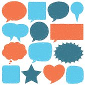 Hand-drawn speech bubbles. High resolution jpg included.