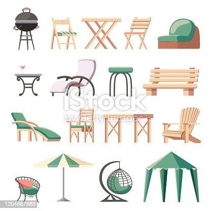 Collection of outdoor furniture or garden furnishings - folding deckchairs, sunlounger, tables, bench, barbecue grill, umbrella, hanging wicker chair, gazebo tent. Flat cartoon vector illustration.
