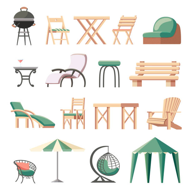 Collection of outdoor furniture flat vector illustration. Collection of outdoor furniture or garden furnishings - folding deckchairs, sunlounger, tables, bench, barbecue grill, umbrella, hanging wicker chair, gazebo tent. Flat cartoon vector illustration. chaise longue stock illustrations