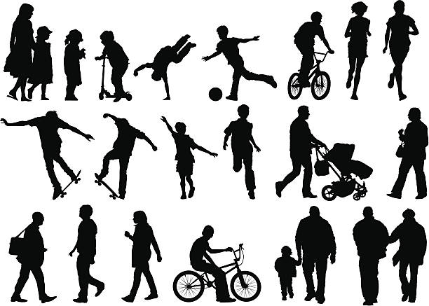 Collection of Outdoors and Active People vector art illustration