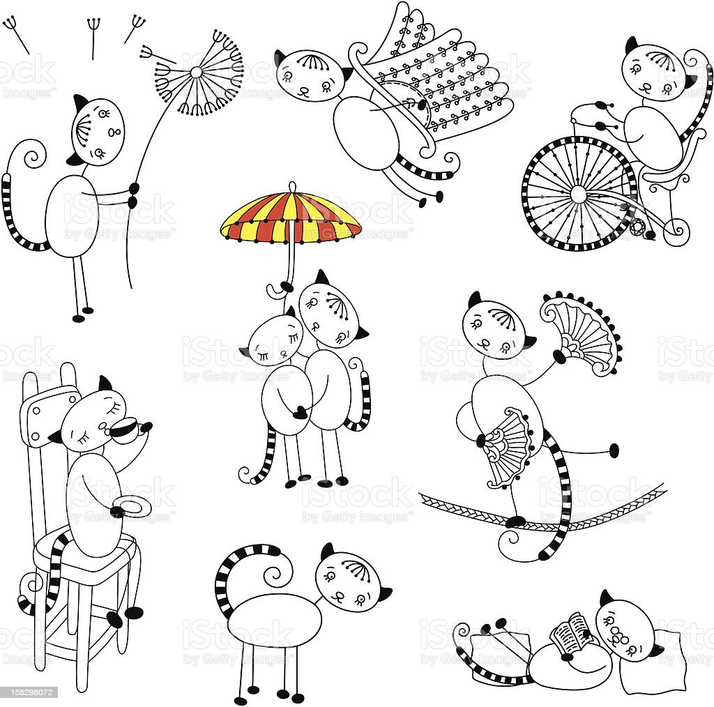 Collection of outline cats royalty-free stock vector art