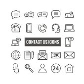 Collection of outline contact us icons