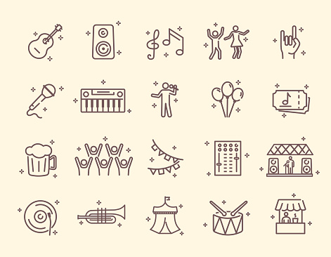 Collection of outline music festival related icons