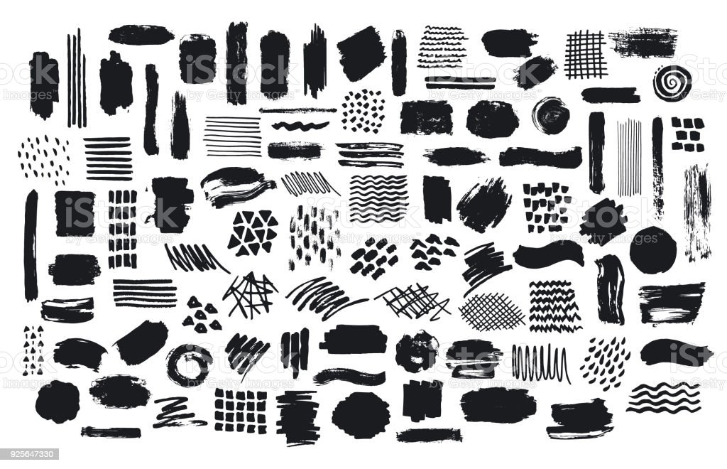 collection of paint brush marker ink stokes textures vector art illustration