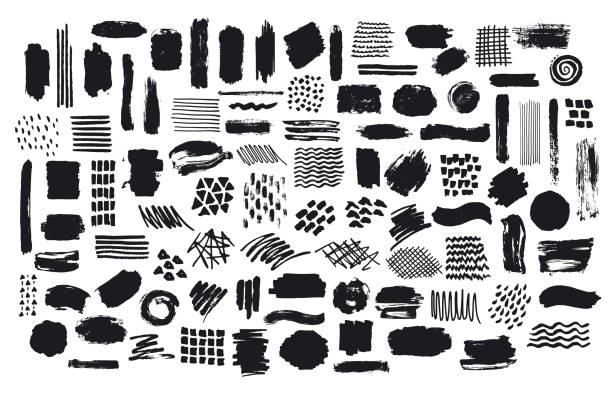 collection of paint brush marker ink stokes textures - backgrounds symbols stock illustrations