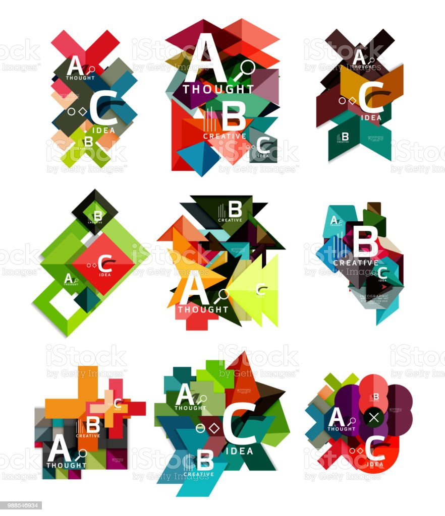 collection of paper geometric infographics a b c process options