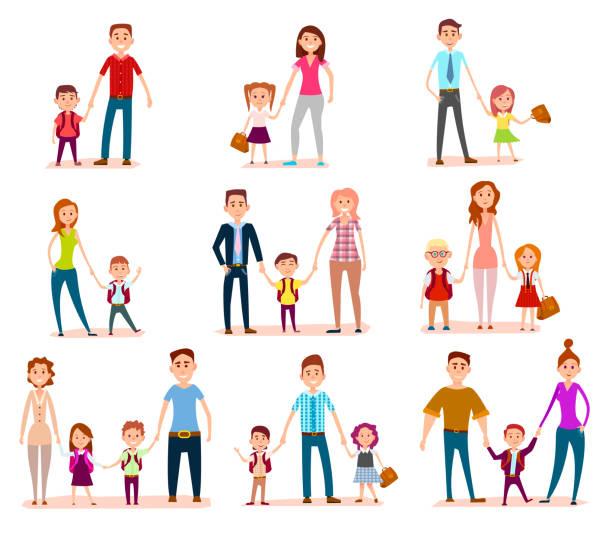 stockillustraties, clipart, cartoons en iconen met verzameling van ouders met hun school kinderen - schooluniform