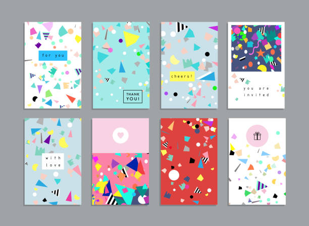 Collection of party cards and invitations. Holiday and Birthday backgrounds with confetti. Vector anniversary patterns stock illustrations