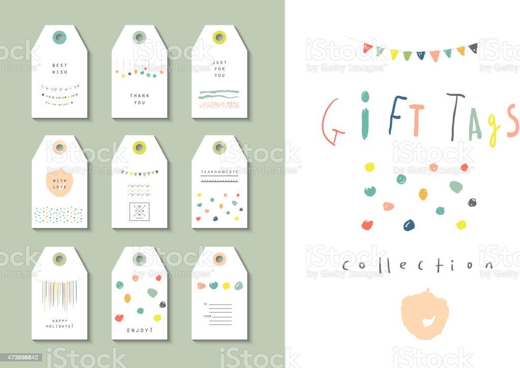 Collection of party hand tags. Cute set for any occasion. vector art illustration