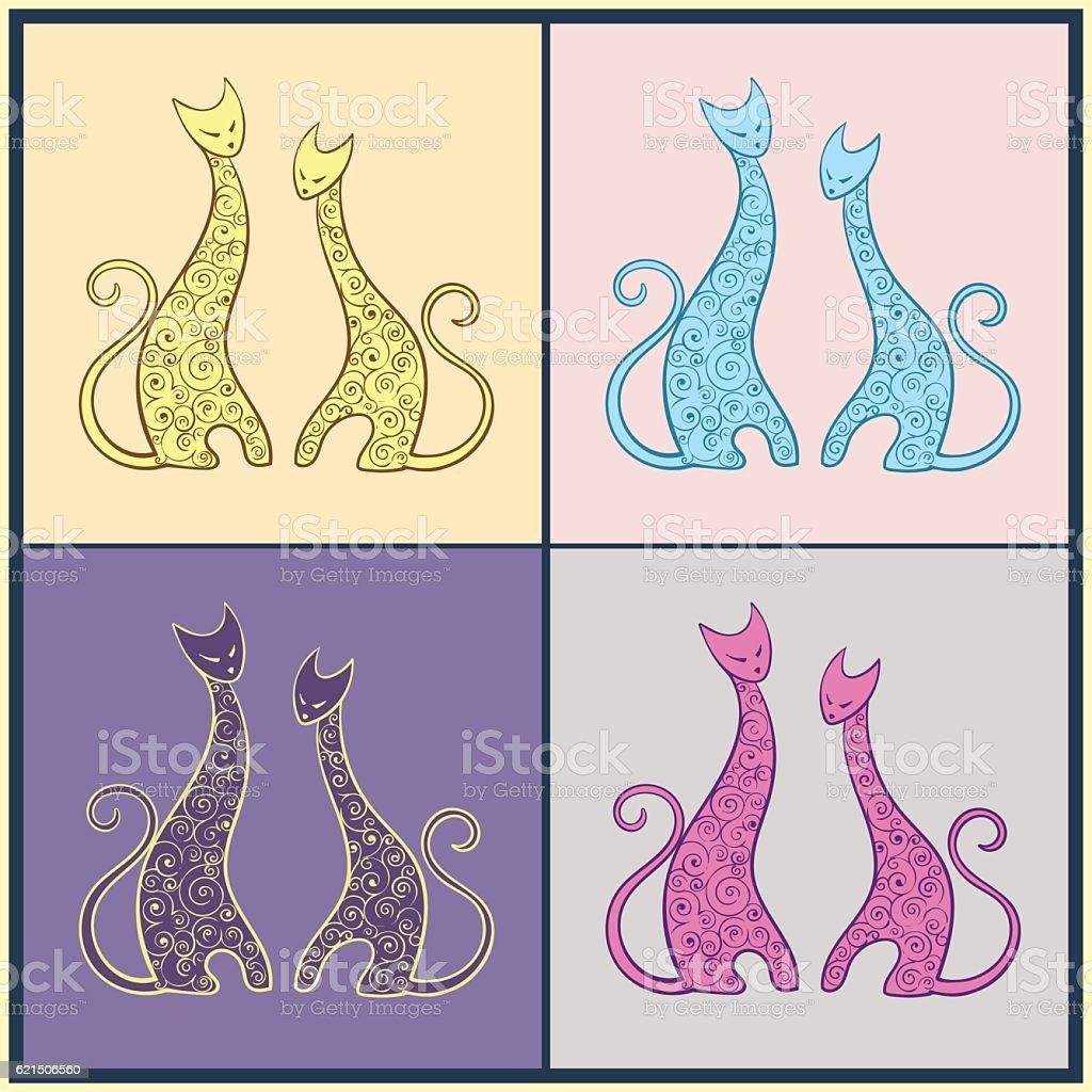 Collection of patterned cats Lizenzfreies collection of patterned cats stock vektor art und mehr bilder von dekoration