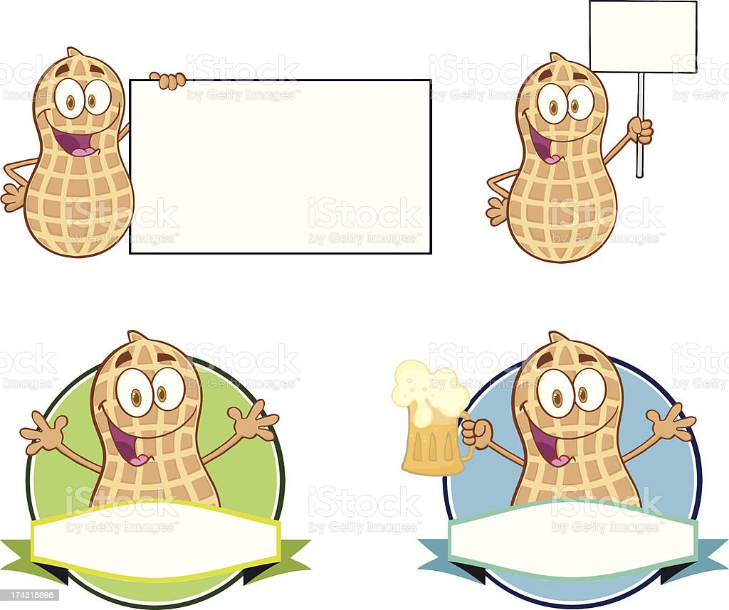 Collection of Peanut Mascot - 3 vector art illustration