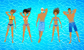 Top view vector illustrations of people floating on blue water.