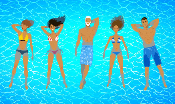 Collection of people and floating tank Top view vector illustrations of people floating on blue water. floating on water stock illustrations