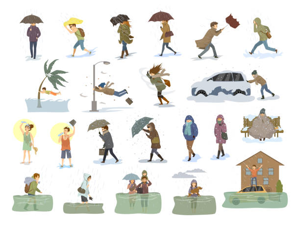 ilustrações de stock, clip art, desenhos animados e ícones de collection of people coping with bad severe meteorological weather conditions disasters like extreme heat and cold, hurricane, strong wind snow hail rain storm, tsunami, flood graphic - homem chapéu