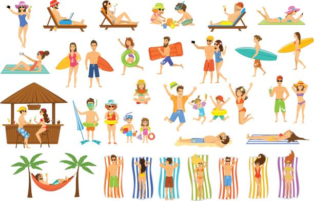 Collection of people having fun on summer vacations. vector art illustration