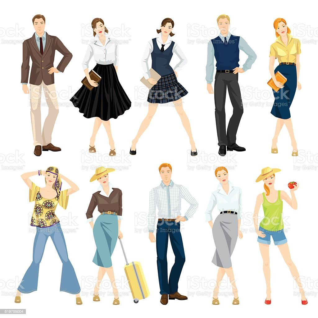 Collection of people in different clothes vector art illustration