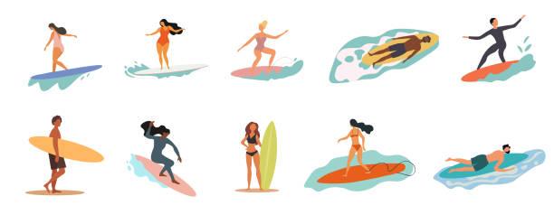illustrations, cliparts, dessins animés et icônes de collection de personnes en maillot de bain faisant des activités - surf