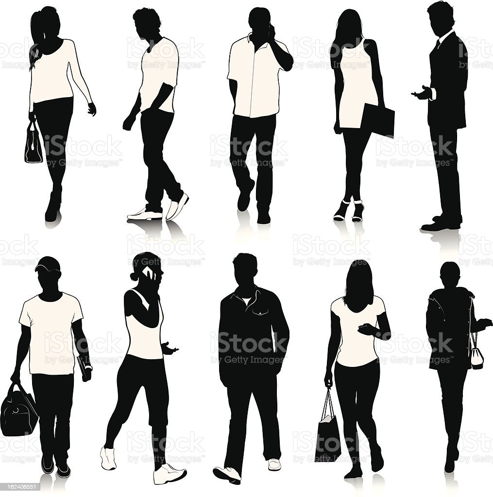 Collection of people silhouettes royalty-free stock vector art