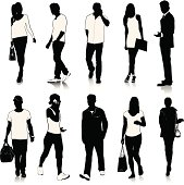 A group of  people silhouettes (male and female).