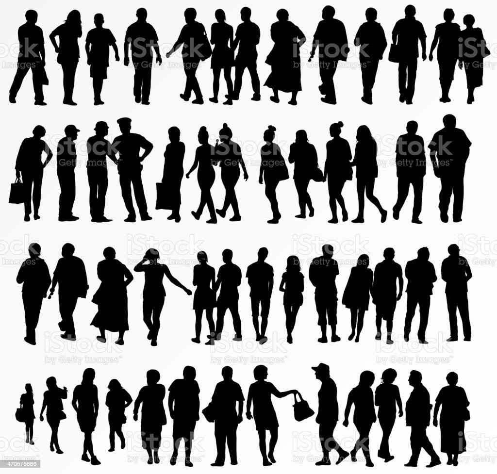 Coleção de silhuetas de pessoas - ilustração de arte em vetor