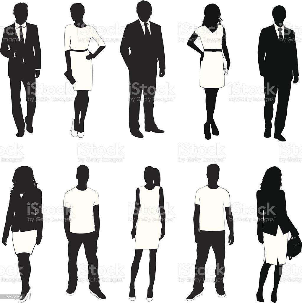 Sammlung von Menschen Silhouetten – Vektorgrafik