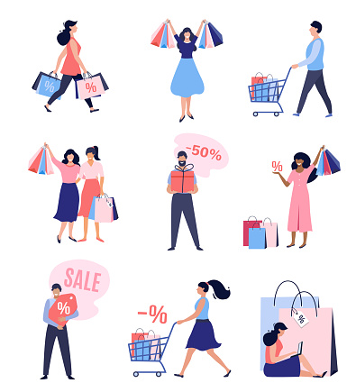 Collection of people with Shopping Bags and Carts.