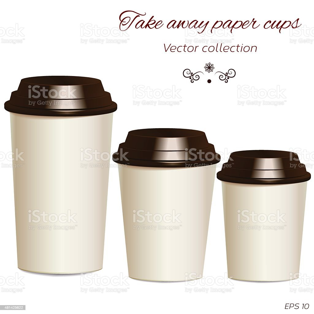 Collection of photorealistic take away hot drink cups in differe vector art illustration