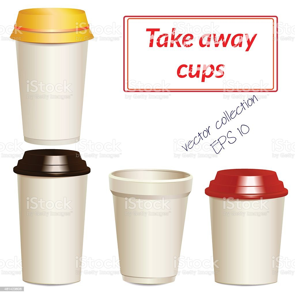 Collection of photorealistic take away hot drink cups vector art illustration