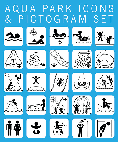Collection of pictograms and signs for aqua park.